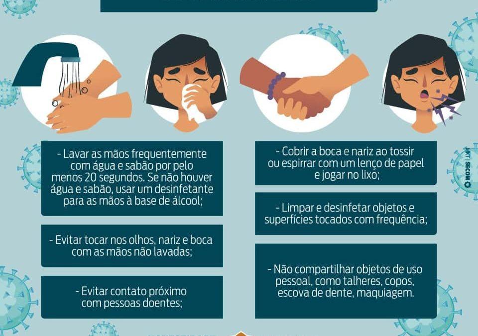 Algumas medidas de prevenção do Coronavírus