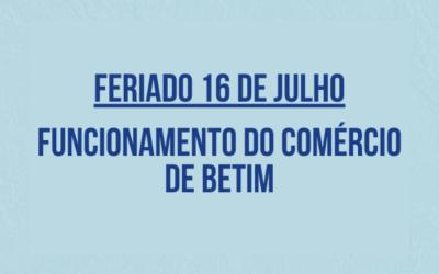 Funcionamento do Comércio de Betim no dia 16 de julho